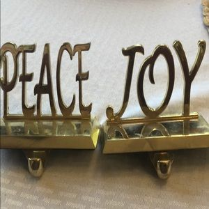 Other - 2 Christmas gold metal stocking holders